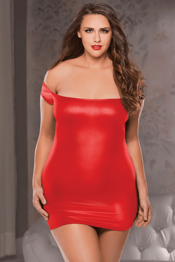 Plus Size Off The Shoulder Red Dress