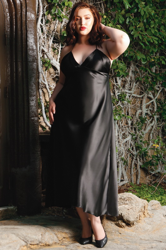 Plus Size Olive Satin Slip Dress With Lace Up Back Spicy
