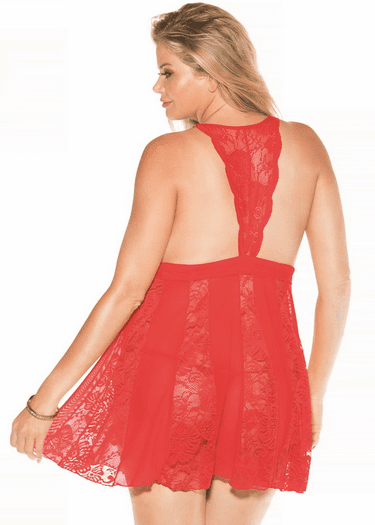 Plus Size One Last Time Lace Babydoll & G-String Set