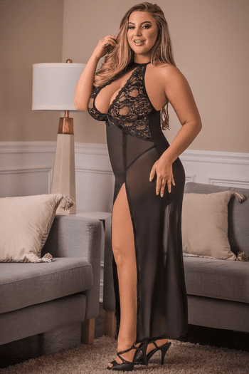 Plus Size One Night Stand Lace Gown & G-String Set
