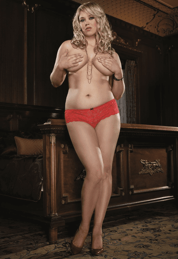 Plus Size Open For Business Lace Open Crotch Panty