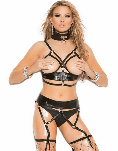 Plus Size Open For You Sexy Leather Bra & Garter Belt Set
