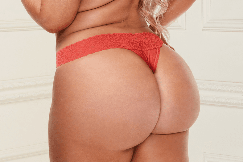 Plus Size Orange Lay With Me Lace Thong