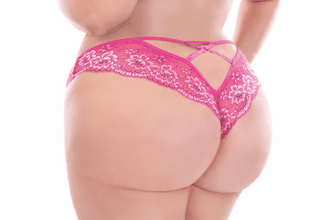 Plus Size Pink Floral Lace Cheeky Panty