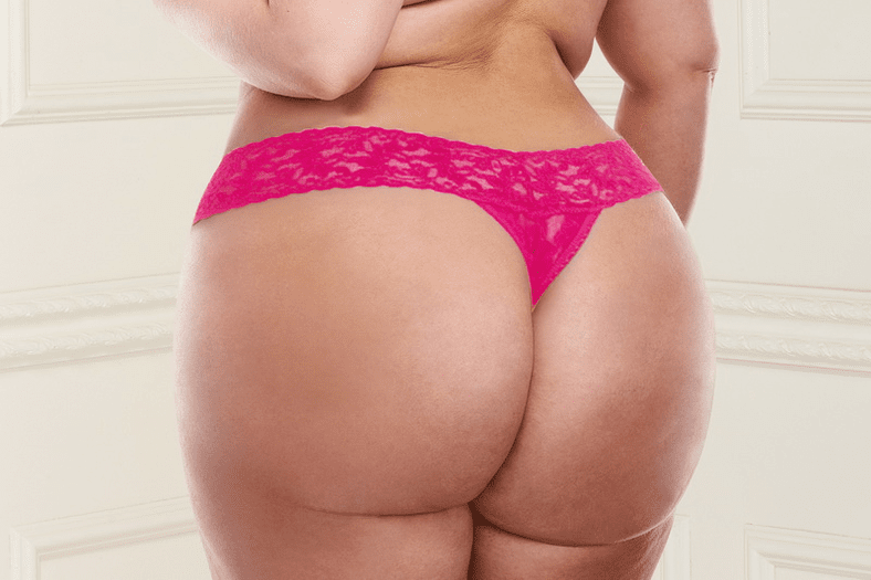 Plus Size Pink Low Rise Lace Thong