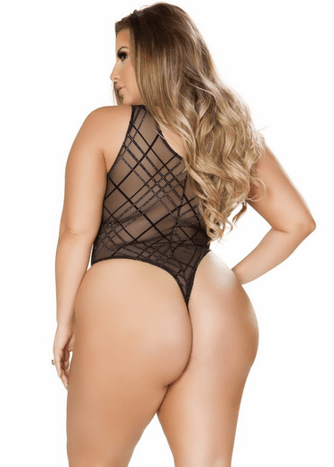 Plus Size Black Sheer Teddy Plus Size Lace Up Teddy