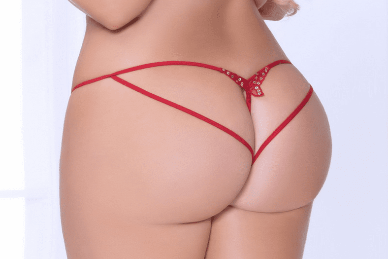 Plus Size Red Butterfly Open Crotch Panty