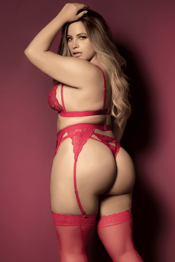 Plus Size Red Cutout Heart Bombshell Lace Bra & Garter Set