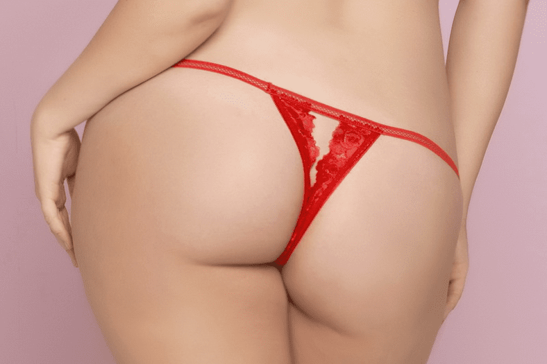 Plus Size Red Floral Lace Crotchless Thong