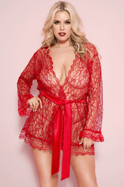 Plus Size Red Floral Lace Robe