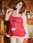 Plus Size Red Holiday Hottie Babydoll, Choker, & Thong Set