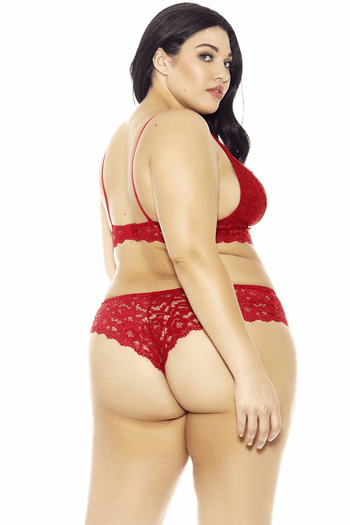 Plus Size Red Lace Hipster
