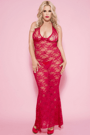 Plus Size Red Long Lace Halter Gown