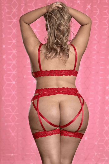 Plus Size Red Risque Business Cupless & Crotchless Bra Set