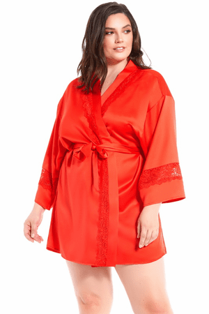 Plus Size Red Satin & Lace Insert Robe