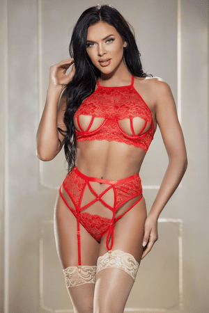 Plus Size Red Strappy Bra, Garterbelt & G-String Set