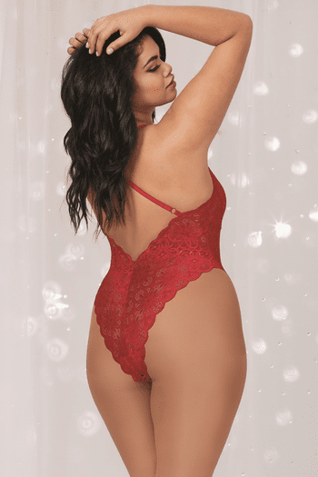 Plus Size Red Take You Down Lace Teddy & Maxi Skirt Set