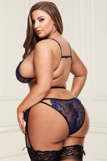 Plus Size Royal Blue Lace Bra, Garterbelt & Panty Set