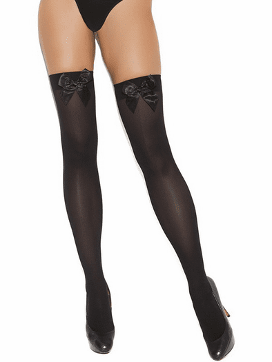 Plus Size Satin Bow Opaque Thigh High