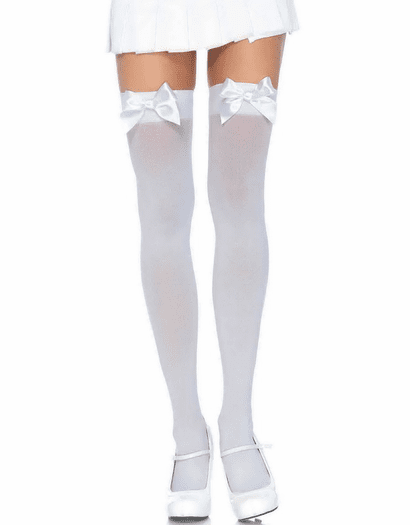 Plus Size Satin Bow Thigh Highs