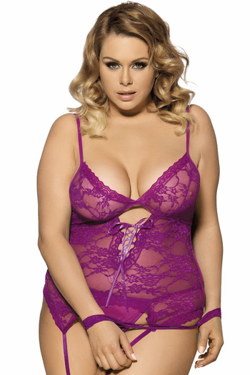 Plus Size Satisfying You Lace Cami & Handcuffs Set