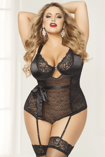 Plus Size Savor Seduction Wine Garter Teddy