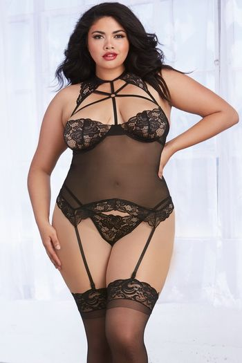 Plus Size Scalloped Stretch Lace & Mesh Gartered Bustier & G-String