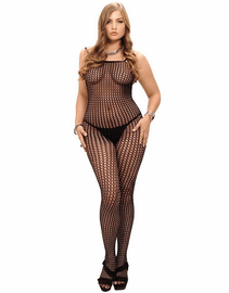 Plus Size Seamless Crochet Bodystocking
