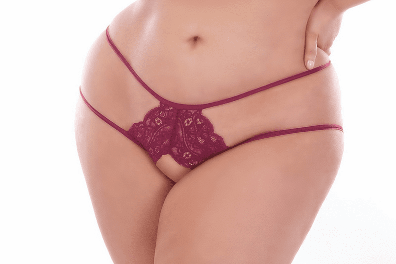 Plus Size Seductive Wine Lace Crotchless Panty