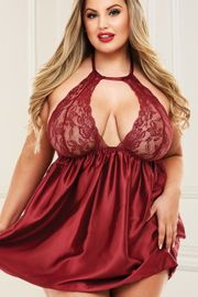 Plus Size Sexy Red Lace Halter Babydoll Set