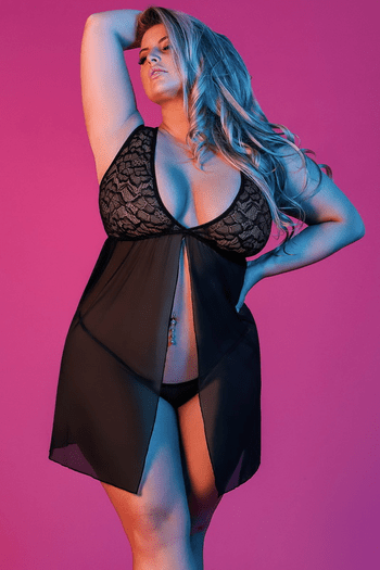 Plus Size Sexy Time Fly Away Babydoll & G-String