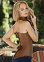 Plus Size She's The One Brown Faux Leather Corset