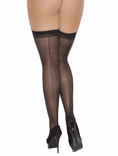 Plus Size Sheer Backseam Stockings