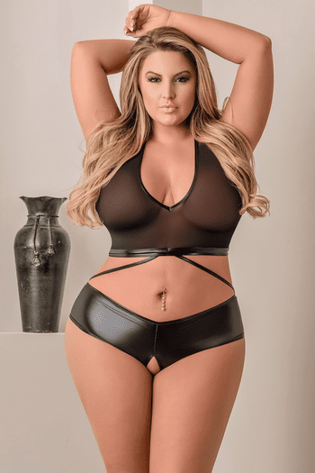 Plus Size Sheer Cami Top & Crotchless Panty Set