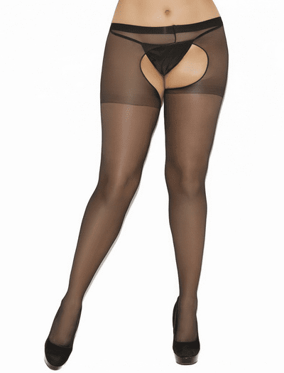 Plus Size Sheer Crotchless Pantyhose