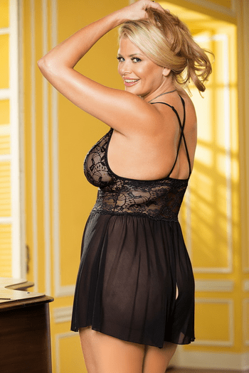 Plus Size Sheer Crotchless Teddy