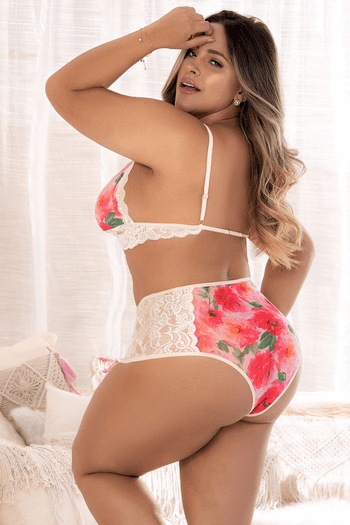 Plus Size Sheer Floral Bra & High Waist Panty Set