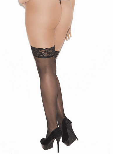 Plus Size Sheer Lace Top Stockings