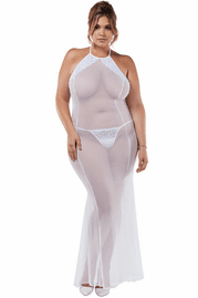 Plus Size Sheer Night Gown Set