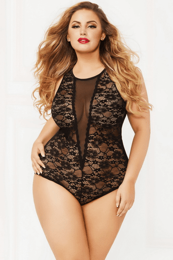 Plus Size Sheer Pleasure Snap Crotch Teddy
