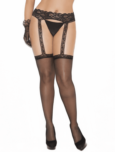 Plus Size Sheer Thigh High w/Lace Garterbelt