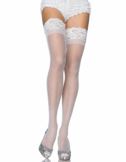 Plus Size Stay Up Lycra Sheer Thigh High