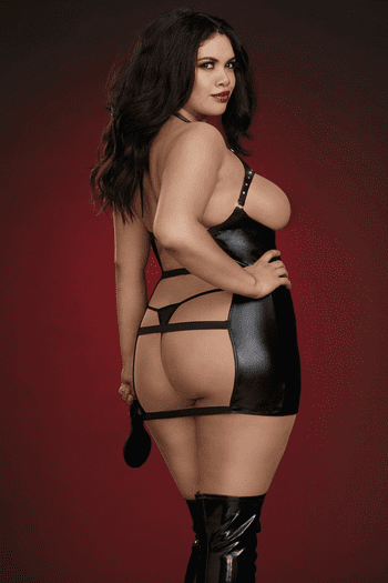 Plus Size Stretch Faux Leather Cupless Chemise