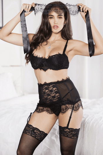 Plus Size Strip Down Lace Bra, Skirt, Handcuffs, & Eye Mask Set