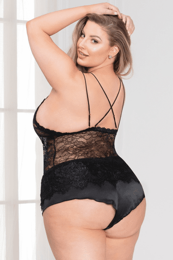 Plus Size Sweet Sins Black Cami Set