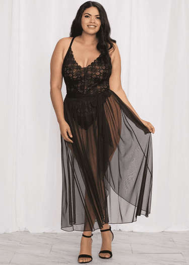Plus Size Take You Down Lace Teddy & Maxi Skirt Set