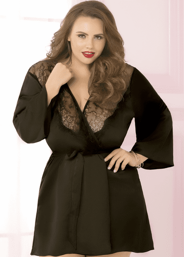 Plus Size Talk Of The Town Satin Robe