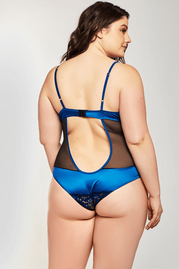 Plus Size Teal Satin & Mesh Teddy