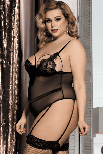 Plus Size This Is The Night Sheer Teddy & Garter Set