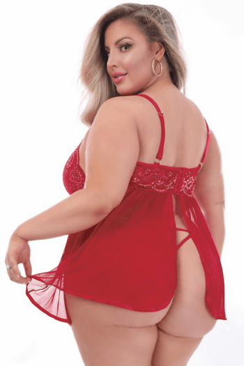 Plus Size Tide of Passion Red Lace & Mesh Babydoll